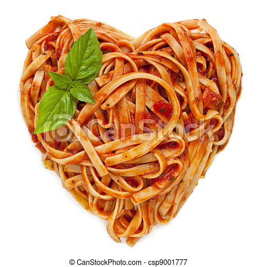 Spaghetti Heart Shape with Basil - csp9001777