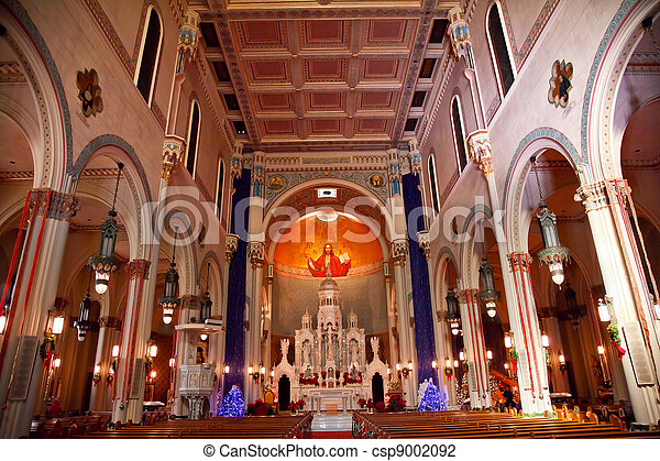 Interior Saint Peter and Paul Catholic Church Completed 1924 San Francisco California.  Christ the Pantocrator, Christ the All Powerful, in the Background by Ettore and Giuditta Serbaroli   - csp9002092