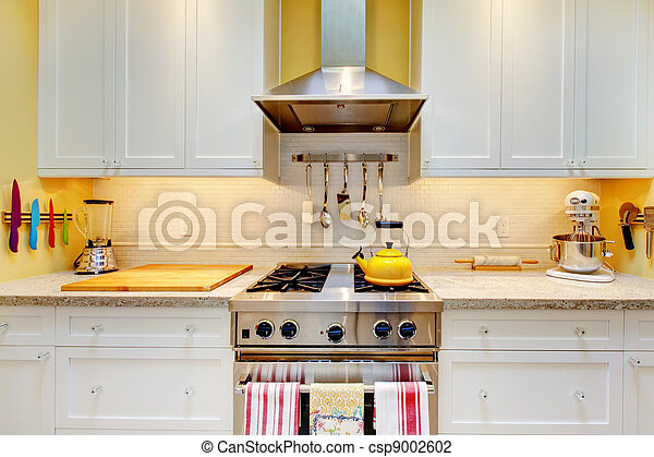 WHite kitchen cabinets with stove and hood. - csp9002602