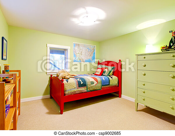 Green boys kids bedroom with red bed. - csp9002685