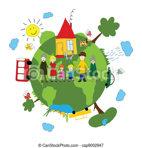 Family and green earth - csp9002947