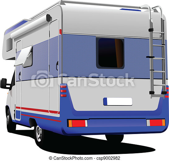 Isolated camper on white backgroun - csp9002982