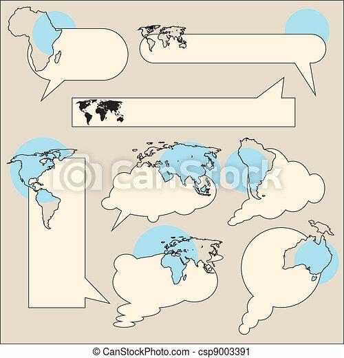 Text balloon continent - csp9003391