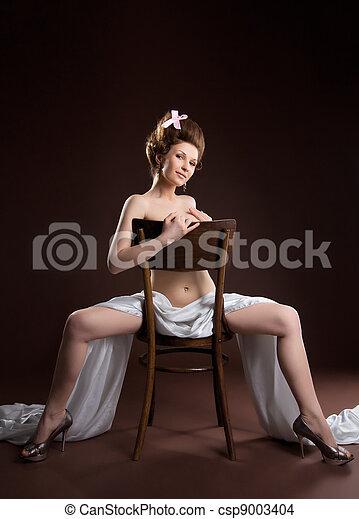 naked woman retro style art portrait - csp9003404