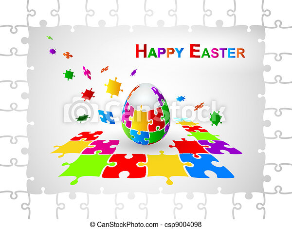 Easter Egg Jigsaw Puzzle Background - csp9004098