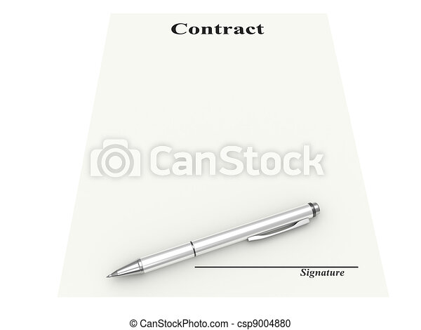 contract document and fountain pen. Signature place - csp9004880