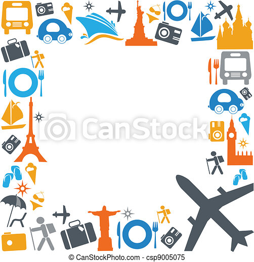colorful traveling and transportation icons - csp9005075