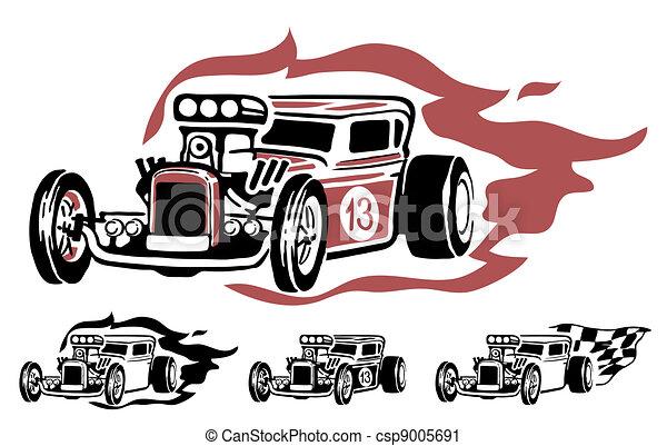 Vektor Clip Art Von Vektor Hotrod Vektor Abbildung
