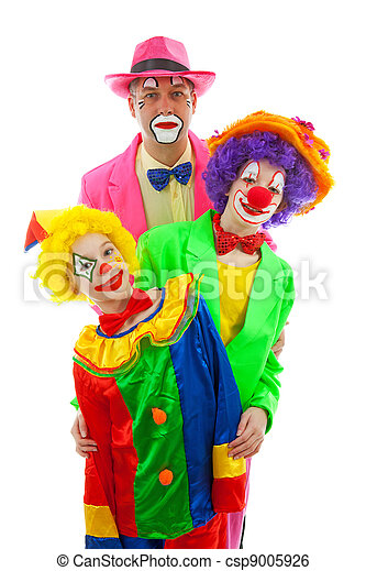 Three people dressed up as colorful funny clowns - csp9005926