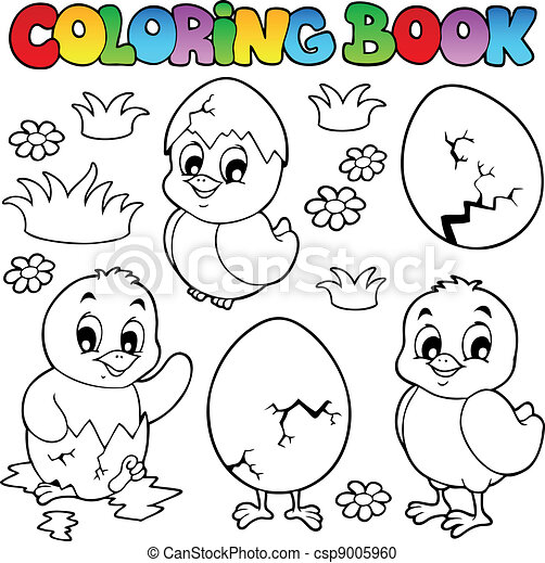 Coloring book with cute chickens - csp9005960