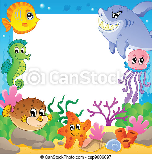Frame with underwater animals 2 - csp9006097