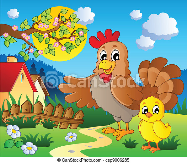 Clipart Vector of Scene with spring season theme 1 ...
