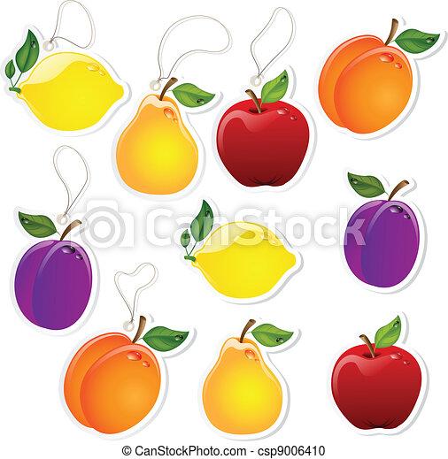 Clipart vettoriali di etichette frutta set di frutta for Clipart frutta