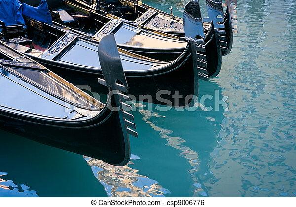 Gondolas moored at Bacino Orseolo in Venice - csp9006776