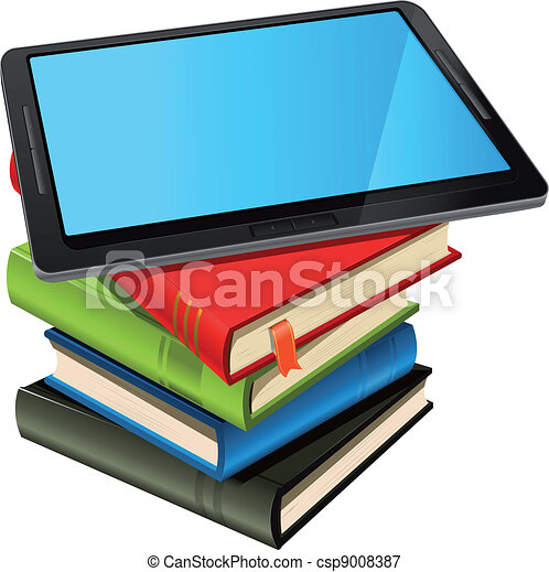 Book Stack And Blue Screen Tablet PC - csp9008387