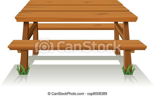 vecteurs eps de table bois pique nique illustration. Black Bedroom Furniture Sets. Home Design Ideas