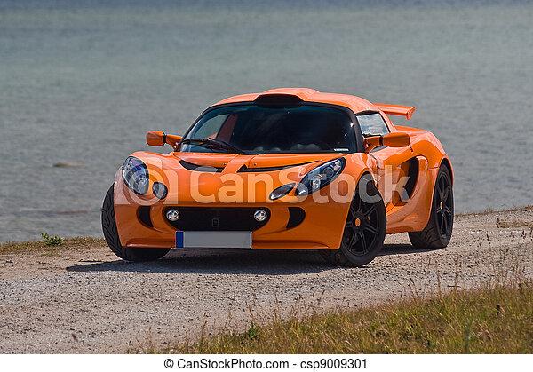 TALLINN, ESTONIA - JUNE 16, 2008: An orange Lotus Exige S front - csp9009301