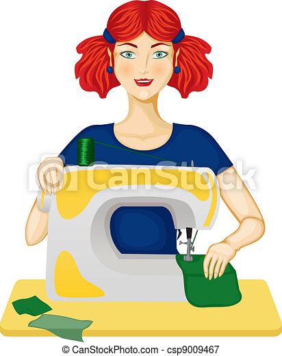 Illustrations vectoris es de femme coud les femme couture sur les couture csp9009467 - Dessin couturiere ...