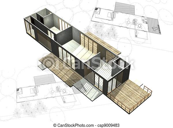Dessins de logement architecture plans 3d b timent for Dessin batiment 3d