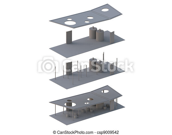 Architecture Exploded in axonometric - csp9009542