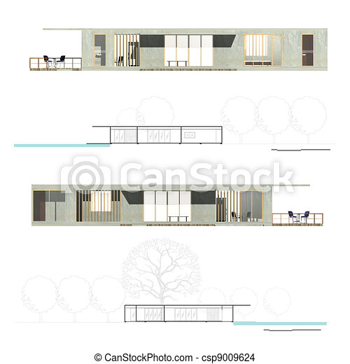 Drawing of Architecture Elevation and Section of Housing ...