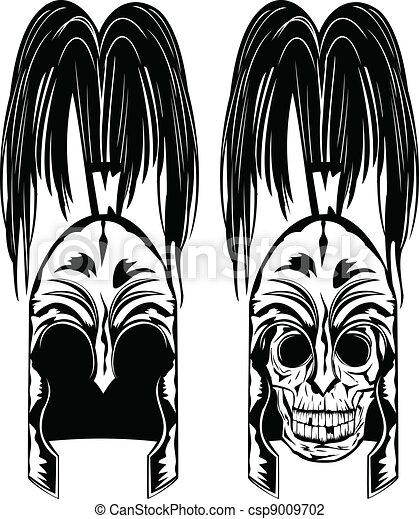 skull in helmet - csp9009702