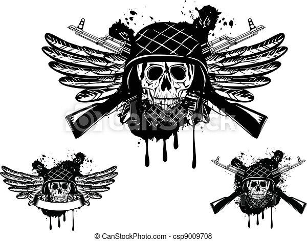 Skull Grenade Drawing Skull in Helmet And Grenade