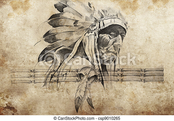 Tattoo sketch of American Indian tribal chief warriors - csp9010265
