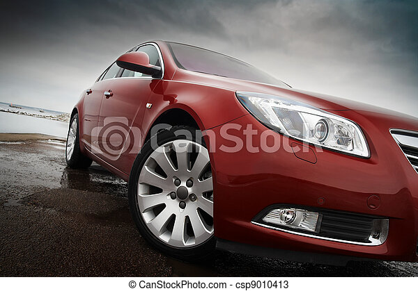 さくらんぼ, 赤い自動車 - csp9010413