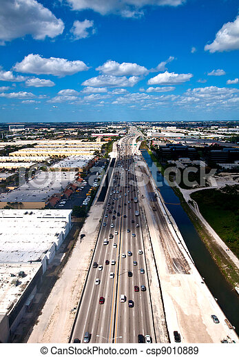 Aerial view on cars on highway - csp9010889