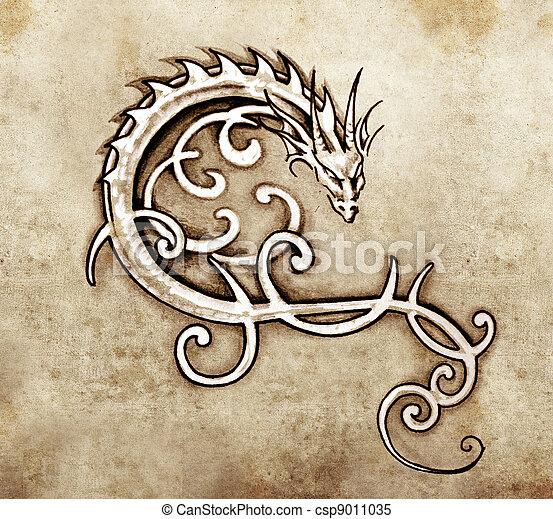 dekoratív, tetovál, skicc, művészet, sárkány - csp9011035