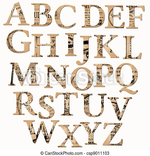 Vintage Alphabet based on Old Newspaper and Notes - in vector - csp9011103