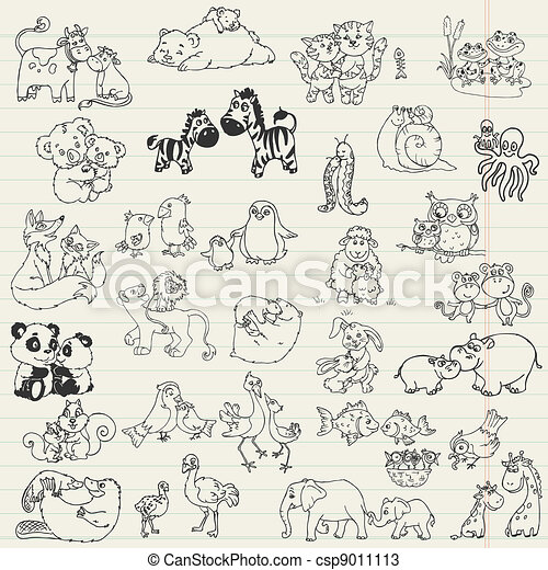 Baby Animals with Moms - hand drawn in vector - csp9011113