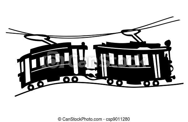 Clipart vecteur de vecteur silhouette tram illustration fond blanc tram csp9011280 - Dessin tramway ...