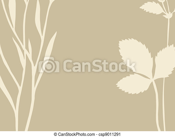 herb and sheet on brown background, vector illustration - csp9011291