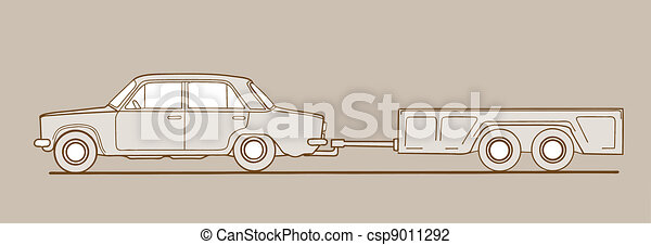 car with trailor on brown  background, vector illustration - csp9011292