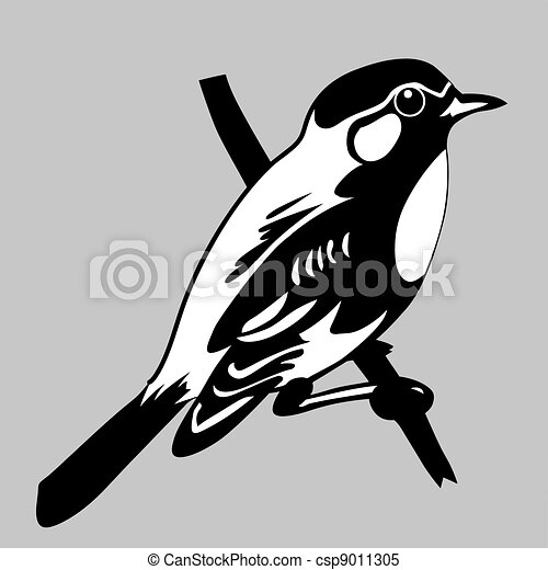 bird silhouette on gray background, vector illustration - csp9011305
