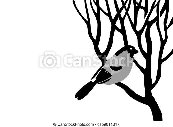 bullfinch silhouette on wood branch, vector illustration - csp9011317