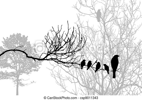birds silhouette on wood branch, vector illustration - csp9011343