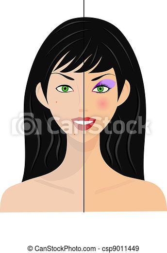 woman, half natural, half make up - csp9011449