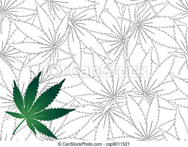 Cannabis leaf - seamless background - csp9011521