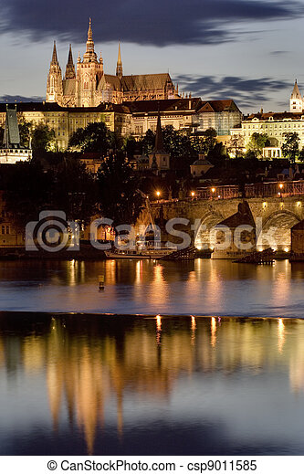 Prague Castle at night  - csp9011585