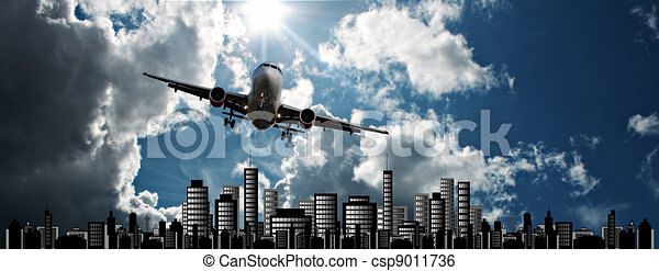 Passenger jet set against cityscape illustration - csp9011736