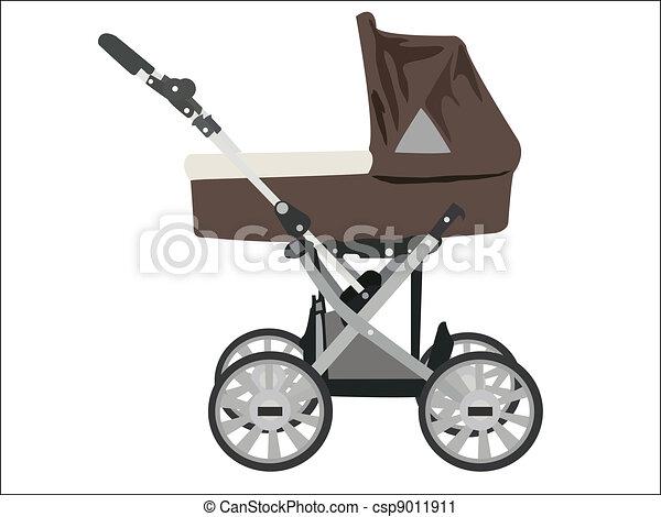 Zoomed baby stroller vector image - csp9011911