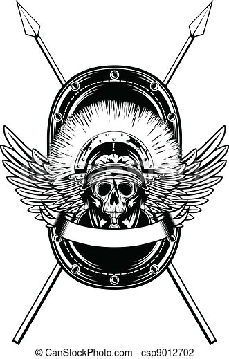 skull in helmet crossed spears - csp9012702