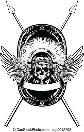 skull in helmet crossed spears    - csp9012702