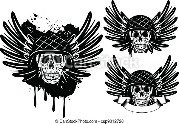 skull in helmet and wings - csp9012728