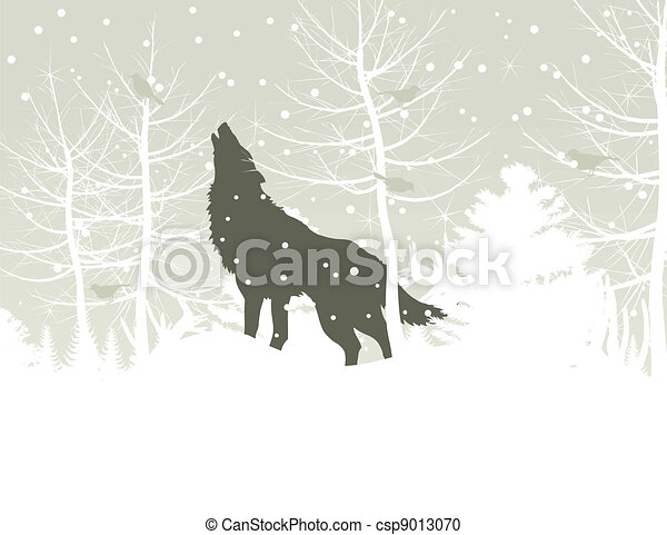Wolf in wood - csp9013070