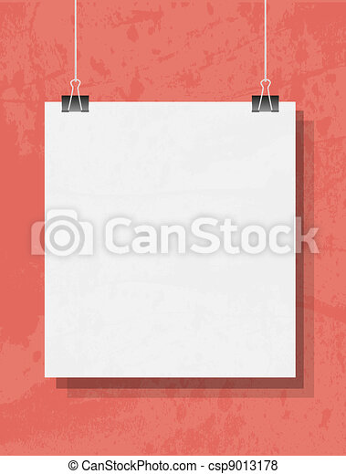 Blank on the paper clips. On grunge background. - csp9013178