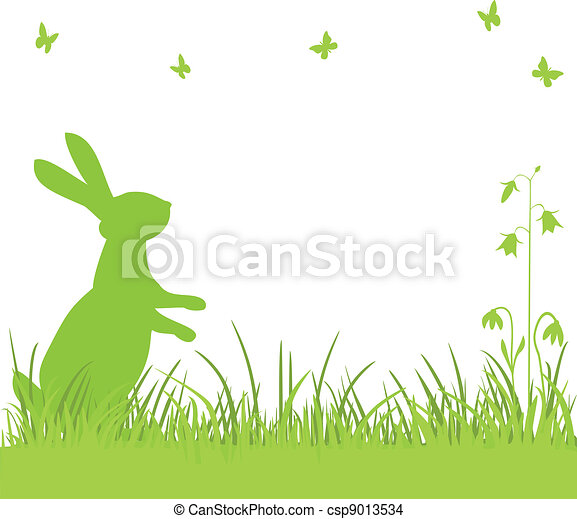 Easter bunny in the meadow - csp9013534